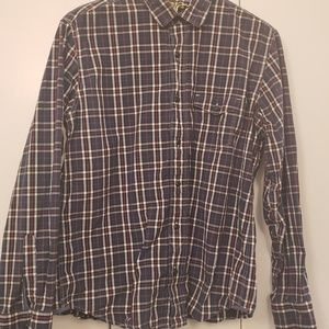 Blue Red plaid long sleeve shirt